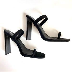 PrettyLittleThing Black Suede Mule Sandal Heel